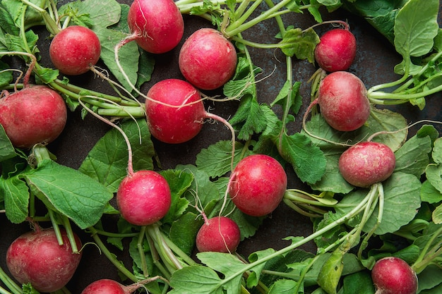 Fresh raw ripe red radishes with green leaves scattered