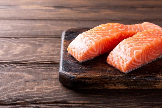 Fresh raw salmon fillet, flat lay