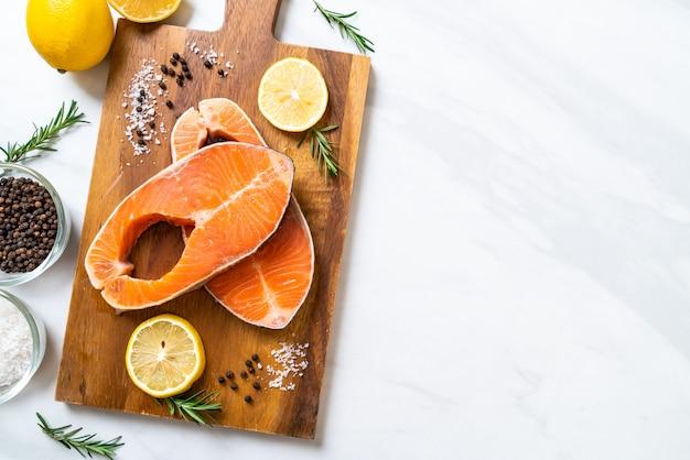 Fresh raw salmon fillet steak