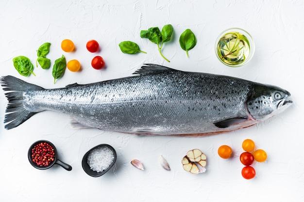 Филе красной рыбы из свежего сырого лосося с ингредиентами