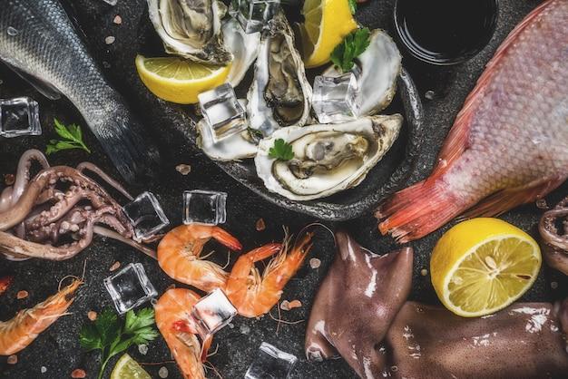 Fresh raw seafood assortment