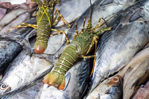市場に陳列されている新鮮な生のシーフード魚