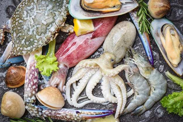 Fresh raw seafood