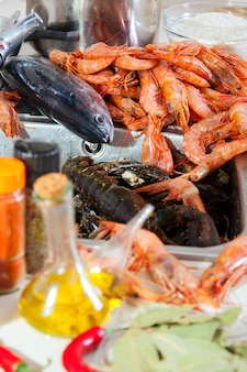 Fresh raw seafoods and  spices