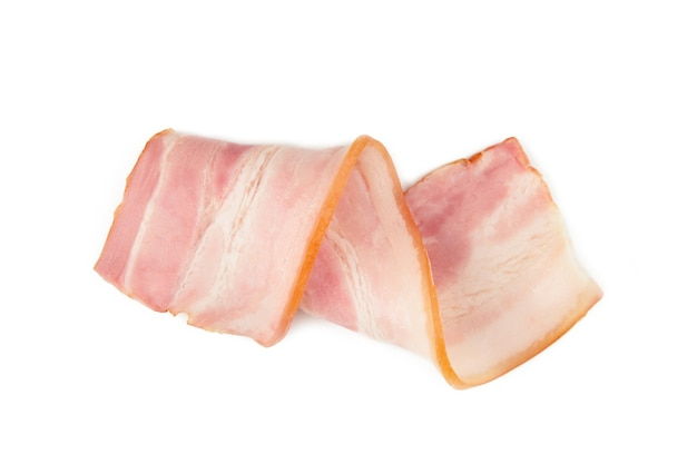Fresh raw slice bacon isolated. roll of bacon. top view