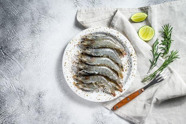 白い皿に新鮮な生車海老、エビ、スパイス。上面図。コピースペース