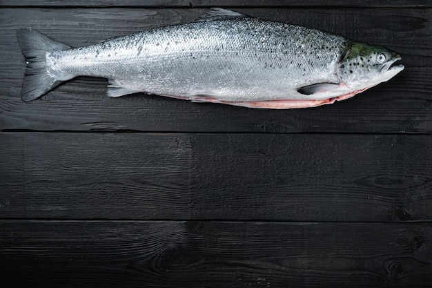 Свежая сырая форель красная рыба на черном деревянном