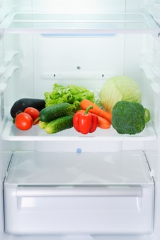 Fresh and raw vegetables in refrigerator
