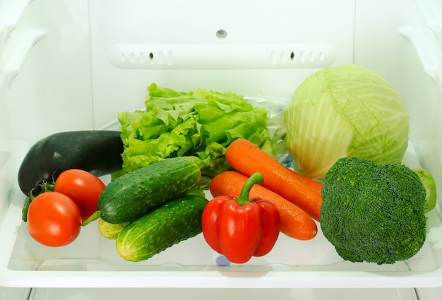 Fresh and raw vegetables in refrigerator Premium Photo