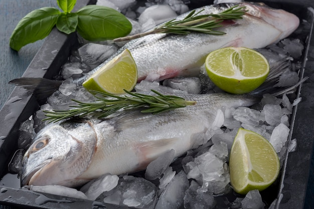Fresh ready to cook raw bream fish dorado with ingredients and seasonings like rosemary, salt, pepper, lime.