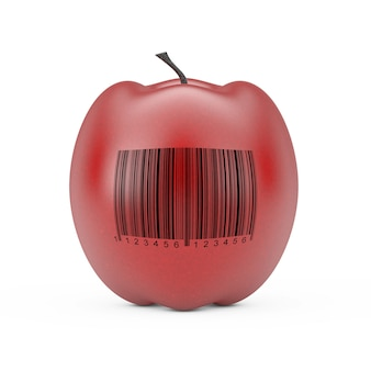 Fresh red apple with bar code on a white background. 3d rendering