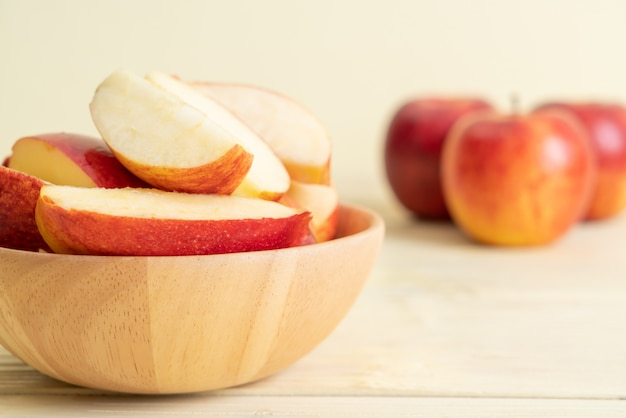 Fresh red apples sliced bowl