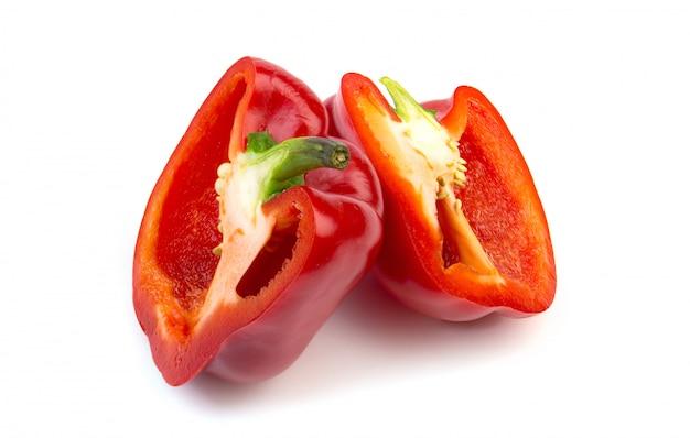 Fresh red bell pepper on white background