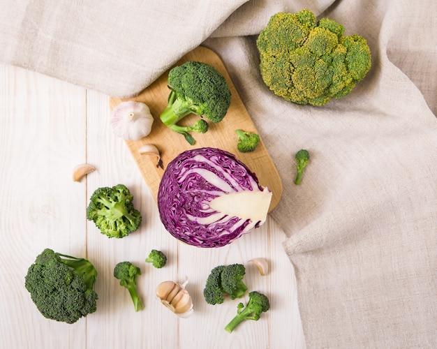 Fresh red cabbage, broccoli and garlic.