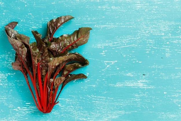 ターコイズブルーの背景にファーマーズマーケットの上面図からの新鮮な赤フダンソウ