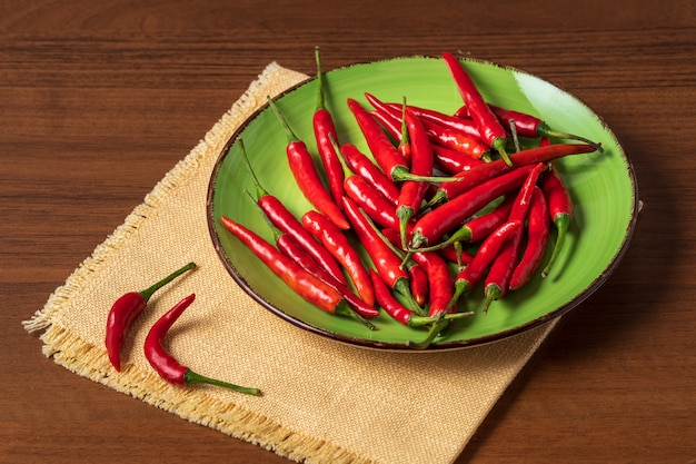Fresh red chili pepper on a plate.