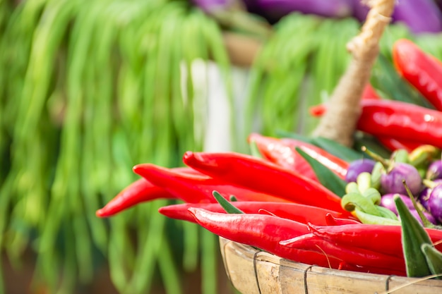 A fresh red chilli, lots of beautiful.