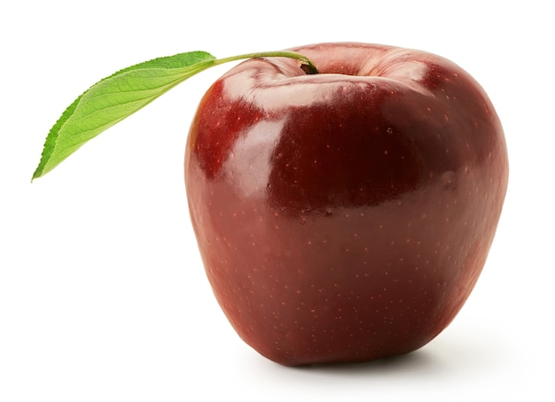 Fresh red delicious apple with green leaf isolated on a white background harvest this year