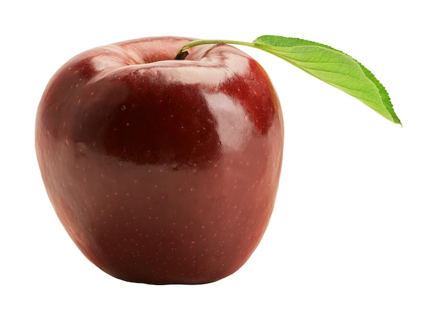 Fresh red delicious apple with green leaf isolated on a white background. harvest this year.