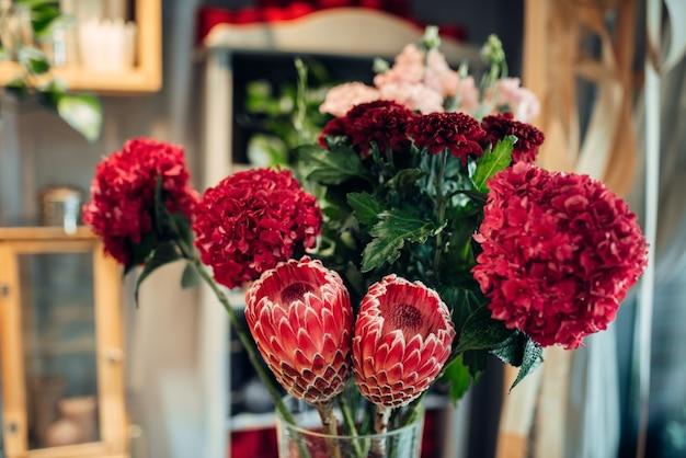 Fresh red flower bouquet closeup