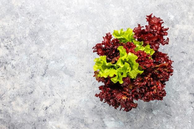 灰色のコンクリートテーブル、トップビューで新鮮な赤いレタス