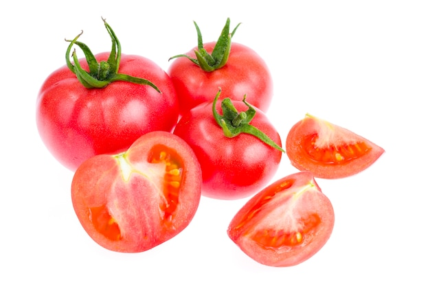 Fresh red and pink tomatoes background