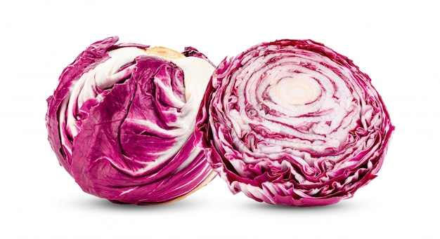 Fresh red radicchio isolated on white