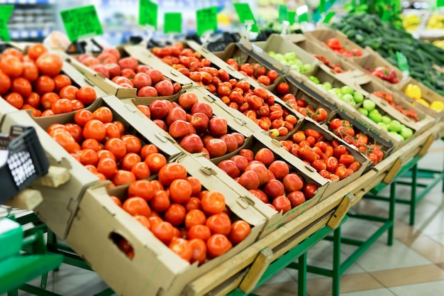 Fresh red tomatoes in supermarket
