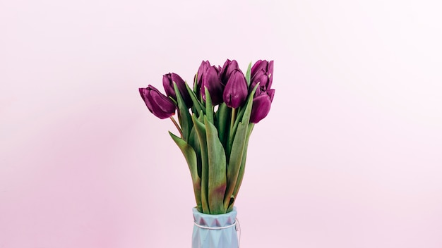 Fresh red tulip flowers in vase on pink backdrop