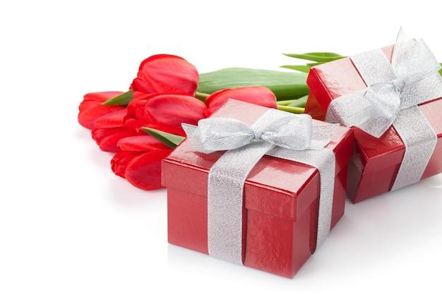 선물 상자와 신선한 빨간 튤립입니다. 흰색 배경에 고립