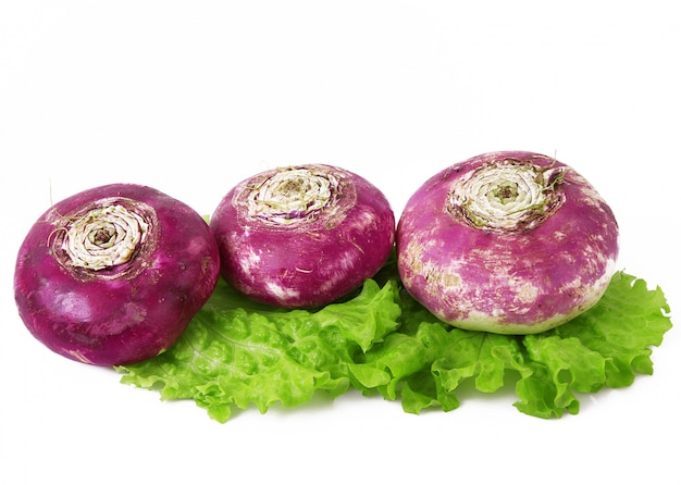 Fresh red turnip on white