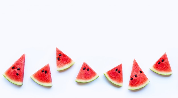 Fresh red watermelon slice isolated on white background. copy space