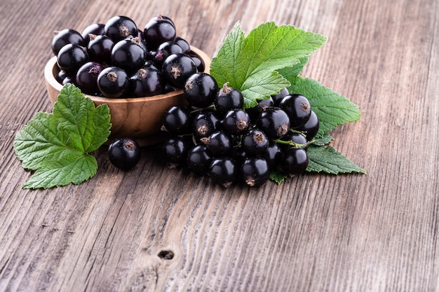 Fresh ripe black currant berries in wooden bowl with original leaves on rustic old background.