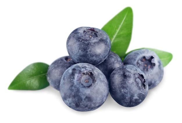 Fresh ripe blueberries on white background