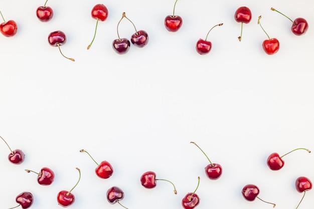 Fresh ripe cherry flat lay
