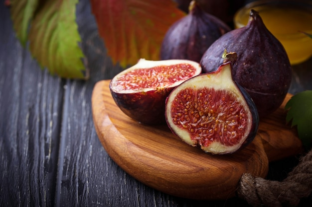 Fresh ripe dissected figs. selective focus