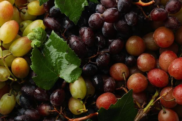 Свежий спелый виноград, вид сверху крупным планом