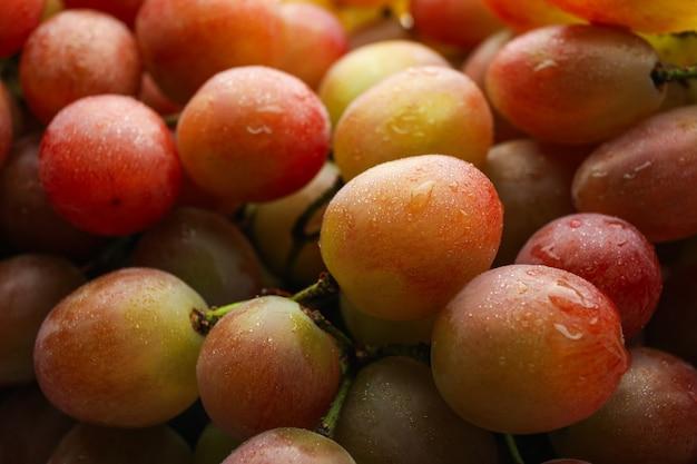 全体に新鮮な完熟ブドウ、クローズアップ