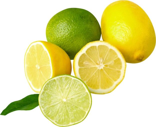 흰색 바탕에 신선한 익은 레몬
