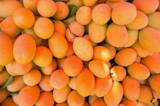 Fresh ripe marian plum, mayongchid, maprang, plum mango, tropical thai fruit