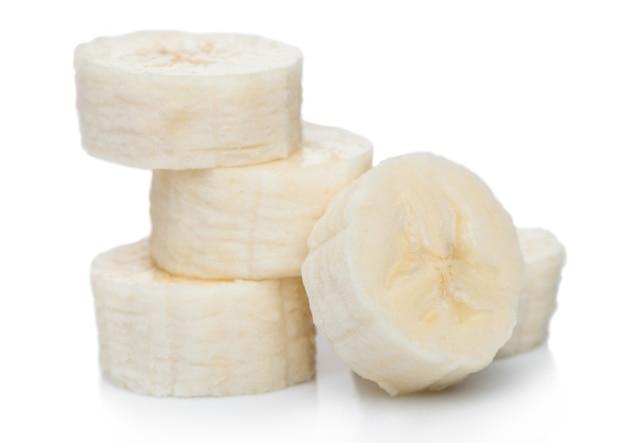 Fresh ripe organic banana sliced pieces