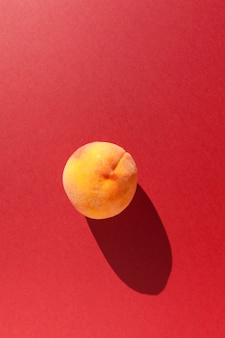 Fresh ripe peach on red background with shadow, vertical orientation.