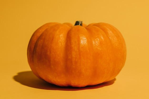 オレンジ色の背景に新鮮な熟したカボチャ。テキストモックアップハロウィーンのコンセプトのためのスペース