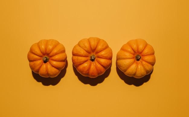 オレンジ色の背景に新鮮な熟したカボチャ、フラットレイ。テキストモックアップ用のスペース
