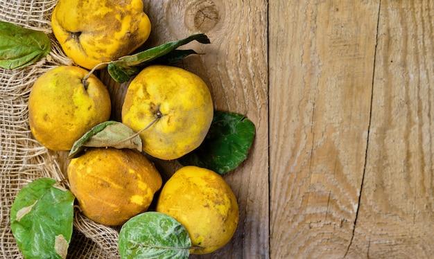 素朴な木製のテーブルに新鮮な熟したマルメロの果実。健康的な黄色の有機マルメロの果実。コピースペースのある上面図