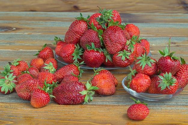 Fresh ripe red strawberries.