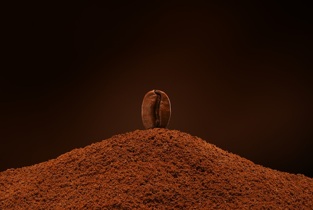 Fresh roasted coffee bean stands on a handful of ground coffee on a brown background