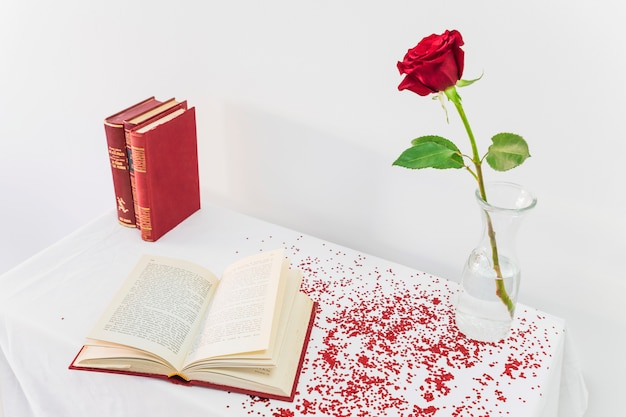 Fresh rose in vase near opened book on table