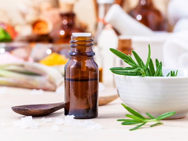Fresh rosemary and essential oil.