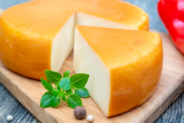 Fresh, round cheese.